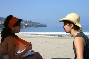 """Laura and I on set of """"Tuesday in Copacabana."""""""