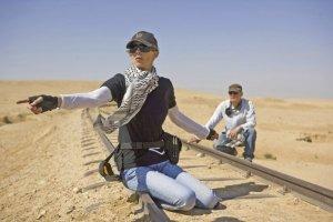 Bigelow on THE HURT LOCKER set in Jordan.